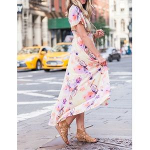June & Hudson Floral Print High/Low Wrap Dress